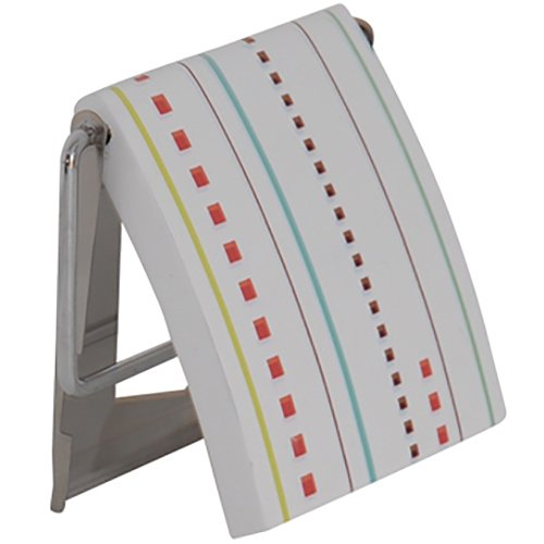 MSV 140410 Tür WC-Sitz, MDF/Edelstahl, Weiß/Hols Farben, 13 x 15 x 1,5 cm