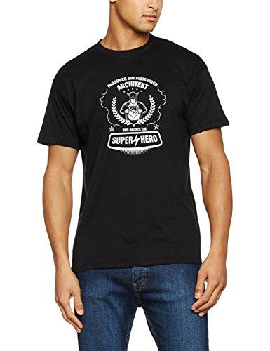Shirtzshop T Shirt Tagsüber ein Fleißiger Architekt und Nachts ein Super Hero, Schwarz, L, ss u1511143 t