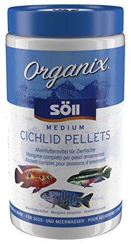 Söll 16200 Organix Medium Cichlid Pellets – Aquariumfutter – Zierfischfutter für Barsche – 1 l
