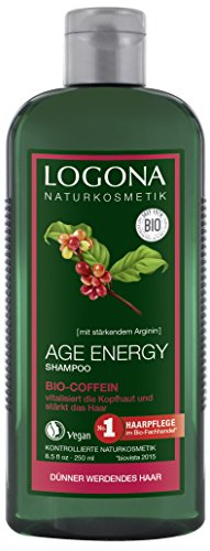LOGONA Naturkosmetik Age Energy Shampoo Bio-Coffein, Kräftigt & vitalisiert, Für geschmeidiges Haar, Fördert bei regelm. Anwendung das Haarwachstum, Mit Bio-Extrakten, 250ml