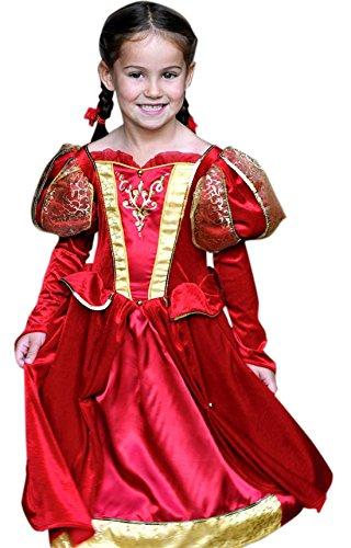erdbeerloft – Mädchen Karneval Komplett Kostüm Kleid Medieval Queen , Rot, Größe 116-128, 6-8 Jahre