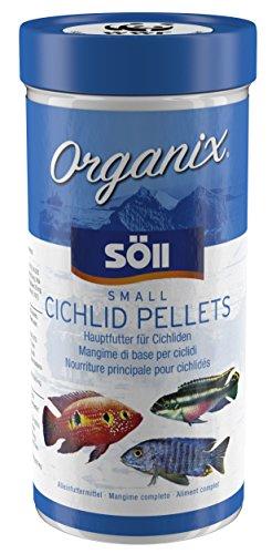 Söll 16190 Organix Small Cichlid Pellets - Aquariumfutter - Zierfischfutter für Barsche - 490 ml