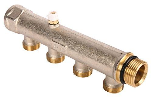 Wiroflex 26063 3, Kompaktverteiler für Sanitär-und Heizungsanlagen, Stammrohr 1 Zoll, 4 fach Verteiler